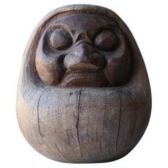 Japanese Antique Wood Carving Daruma 1800s-1900s /Folk Art Figurine Wabisabi Art