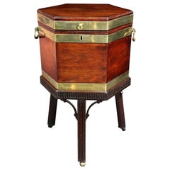 Antique Mahogany Brass Bound Wine Cooler