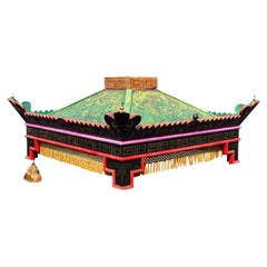 Chinoiserie Custom Wood Ceiling Mounted Pagoda Bed Canopy with Fringe Detail