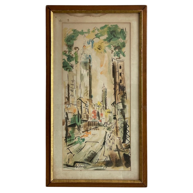 New York Scene by George Schwacha For Sale