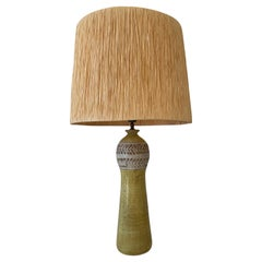 Mid-Century Modern Yellow Ceramic and Raffia Table Lamp by Bitossi, Italy, 1960s