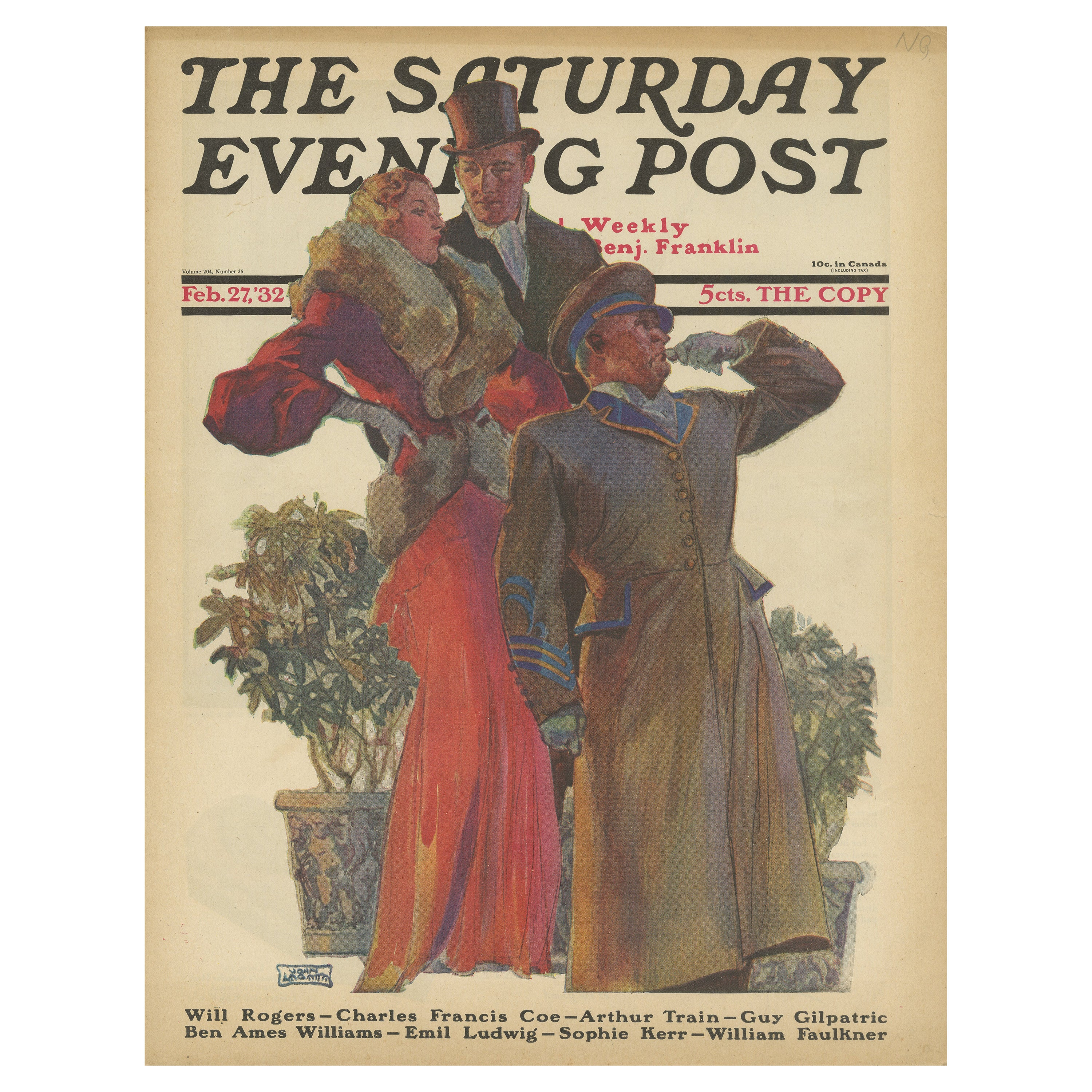 Vintage Print of a Couple Waiting for a Taxi 'The Saturday Evening Post' '1932'