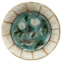 French Majolica Bird Plate Onnaing, circa 1890