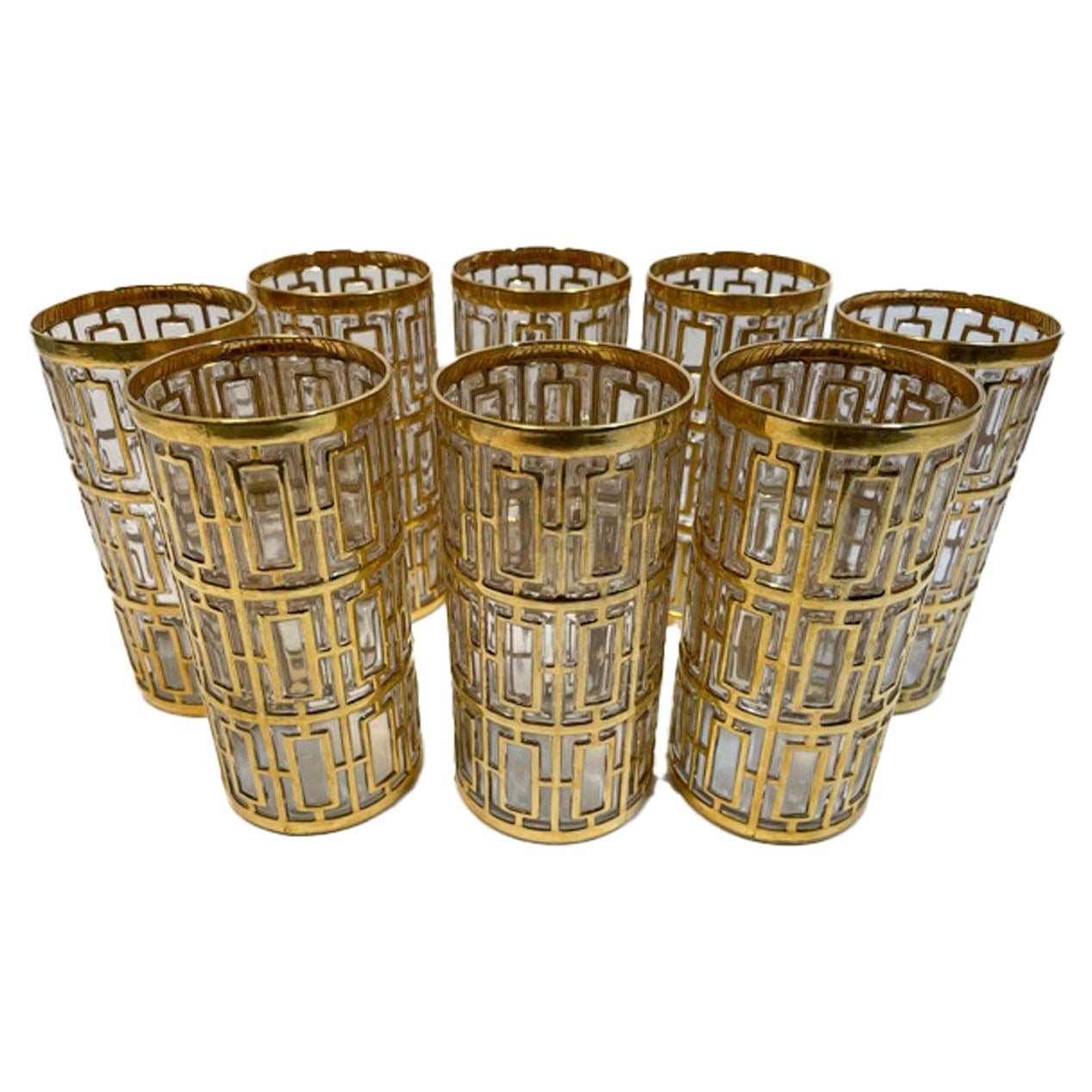 Vintage Set of 8 Imperial Glass Co. Highball Glasses in the Shoji Pattern