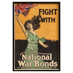Fight with National War Bonds Vintage British WWI Poster, Circa 1917-18