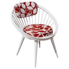 Yngve Ekström White Mid-Century Circle Chair, 1960