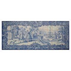 """18th Century Portuguese """"Azulejos"""" Panel """"Contryside Scene"""""""