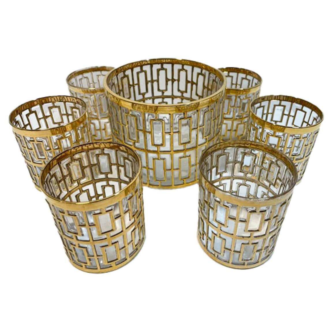 Vintage Imperial Glass Co., Shoji Pattern Ice Bowl and 6 Rocks Glasses