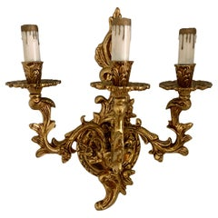 Gilt Wall Sconce with three Lights
