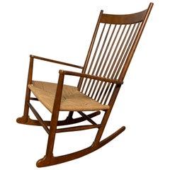 """Hans Wegner Danish """"J16"""" Rocking Chair for FDB Mobler"""