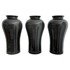 Vintage Smokey Gray Signed Cenedese Murano Cased Glass Large Vases