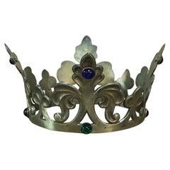 19th Century Decorative Bronze Crown with Semi-Precious Stones