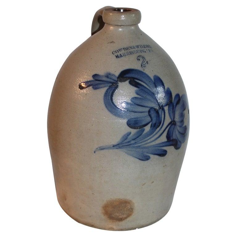19thc Decorated Stoneware Cowden & Wilcox Jug For Sale