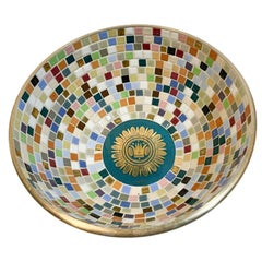 Vintage Georges Briard Brass Bowl with Tiled Interior in the Regalia Pattern