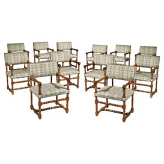Twelve Set Chairs Armchairs Open Fruitwood Upholstered Dining Renaissance-Style