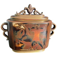 """""""Man, Woman and Horses,"""" Striking Art Deco Covered Urn by Nylund for Rorstrand"""