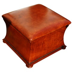 English 19th Century Leather Waisted Ottoman with Fitted Mahogany Interior