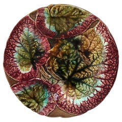 English Majolica Begonia Leaves Cake Stand, circa 1890