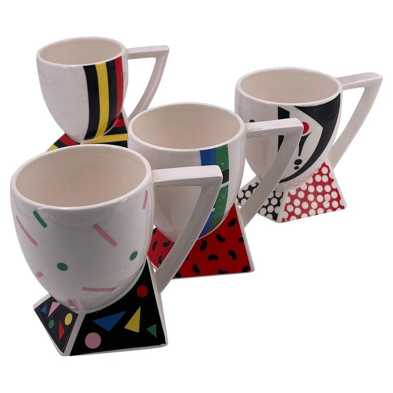 Rare Set of 4 Porcelain Cups Design by Kato Kogei Postmodern Memphis Japan For Sale