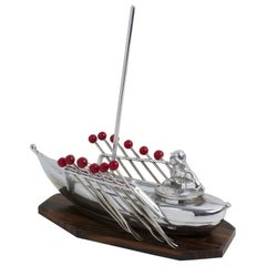 French Art Deco Chrome and Macassar Wood Miniature Boat Cocktail Picks