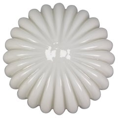 White Opaque Glass Flush Mount by Doria Leuchten, 1960s