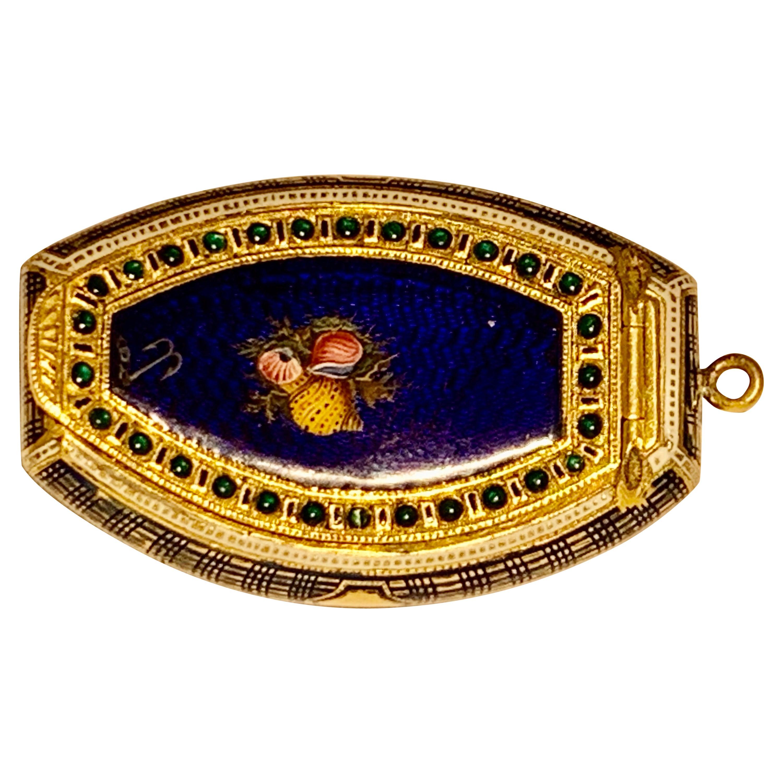 A Rare Antique Swiss Gold & Enamel Jewelled Vinaigrette Box Late 18th C