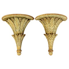 Pair of Regency Style 'Lettuce' Gilt Lacquered Wall Brackets
