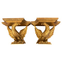 Pair of Italian Neoclassic Carved Giltwood Eagle Motif Wall Shelves