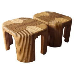 Pair of Vintage Reeded Bamboo Side Tables