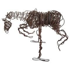 Brutalist Art Wire Horse Sculpture Modernist Metal Jumper, 1960s
