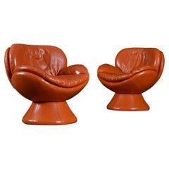Nineteen-Laties Pedestal Base Orange Leather Swivel Pod Chairs by Jaymar