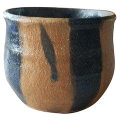 Modern Calif Ceramic Art Stone Pottery Vase Terracotta & Glazed Navy Blue 1982