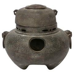 Japanese Iron Tea Ceremony Teapot with Original Brazier
