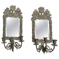 Antique 18th Century Double Eagle Wall Mirrors Candle Sconces Repoussé Brass
