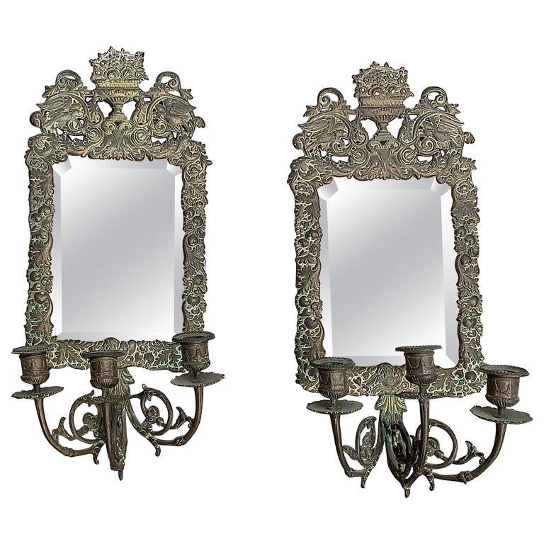 Antique 18th Century Double Eagle Wall Mirrors Candle Sconces Repoussé Brass For Sale
