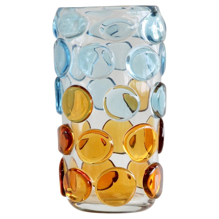 Murano Glass Vase, Italy 'Bubbles in light blue and orange' For Sale
