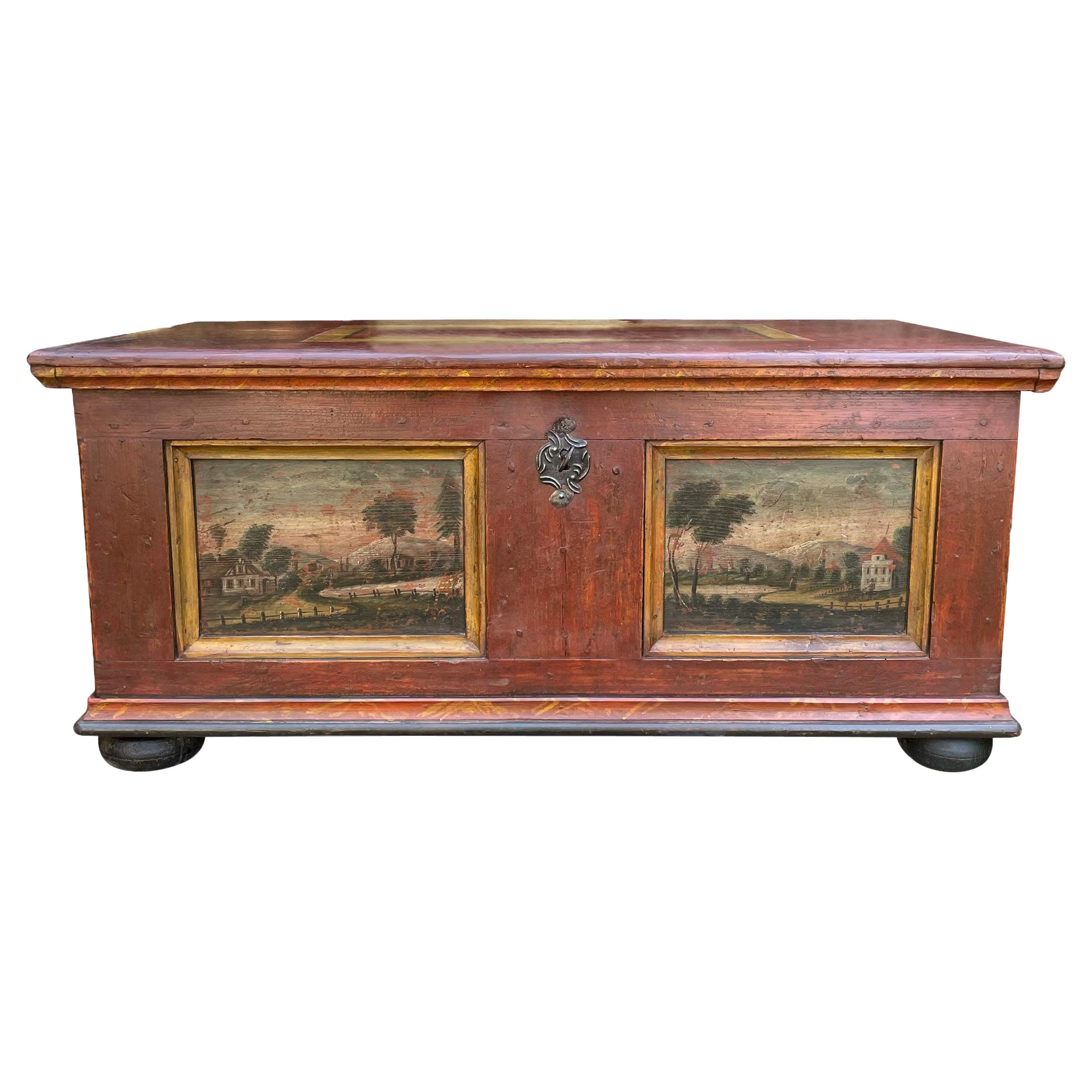 Blanket Chest, Dark Red Landscape Painted, Early 19th - Central Europe
