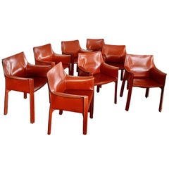 8 Mario Bellini CAB 413 Armchairs in Russian Red 'Cognac' Leather for Cassina