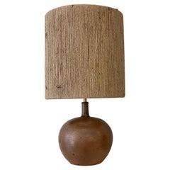 Mid-Century Modern Brown Ceramic Belgian Lamp, 1960s, New Rope Lampshade