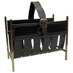 Jacques Adnet Magazine Rack in Black Sling Leather and Brass, France 1960's