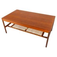Vintage Danish Teak and Cane Coffee Table, 1960s