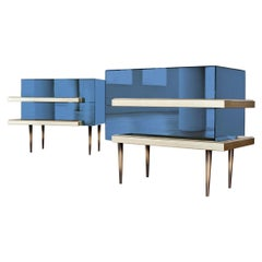 Illusion Set of 2 Nightstands Water Blue by Luis Pons