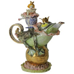 The Frog Prince Porcelain Piece, Handmade in Italy, Handcrafted Design 2021
