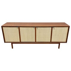 Walnut and Cane Mid Century Modern Credenza by Founders