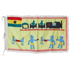 Vintage Asafo Flag in Yellow Appliqué Patterns by the Fante People, Ghana 1970s