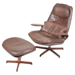 Midcentury Swivel Chair and Ottoman by Madsen & Schubell, Danish Design, 1960s