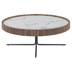 Regia Occasional Table in Walnut Featuring Carrara Glass