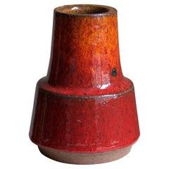 Michael Andersen, Vase, Red / Orange Glazed Stoneware, Bornholm, Denmark, 1960s