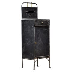 Polished Iron Nightstand with Brass Details, 1910s
