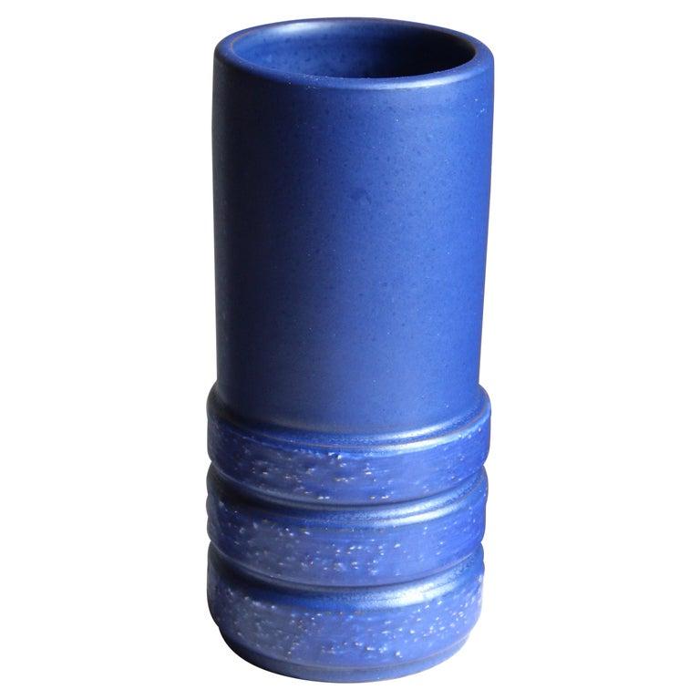 Jerk Werkmäster, Vase, Blue Glazed Ceramic, Nittsjö, Sweden, 1940s For Sale
